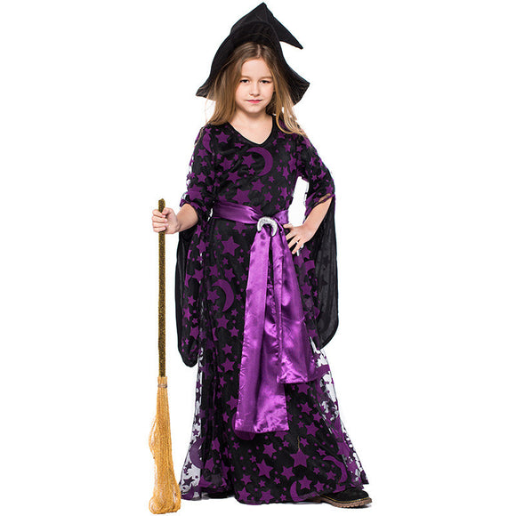 Halloween Kids Costume Star moon Print Witch Cos Costume For Girls