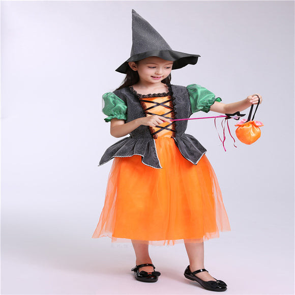 Halloween Kids Costume Pumpkin Dress Witch Cos Costume For Girls