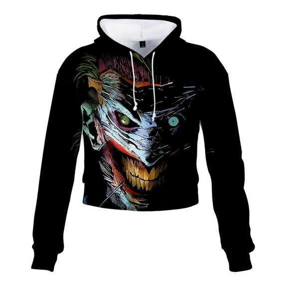 DC Comics Joker Pull Over Crop Top Hoodie