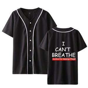 I Can't Breathe Baseball Jacket Button Down Jersey Short Sleeve Hipster Hip Hop T Shirts