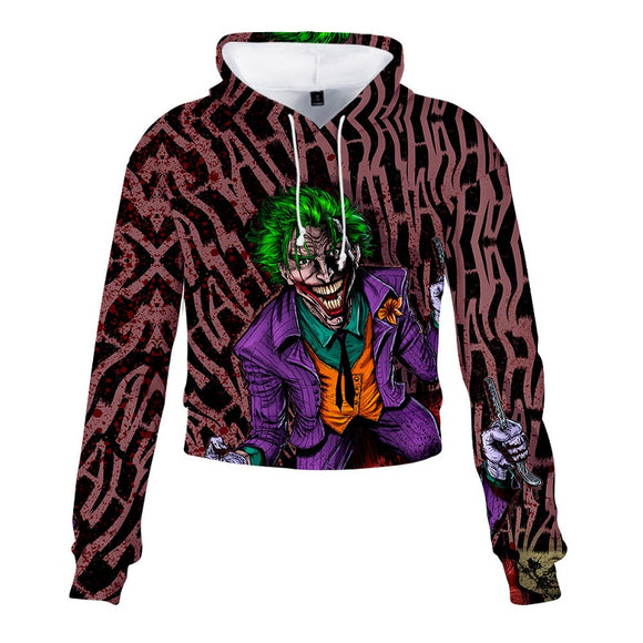 Haha Joker Crazy 3D Print Pull Over Crop Top Hoodie
