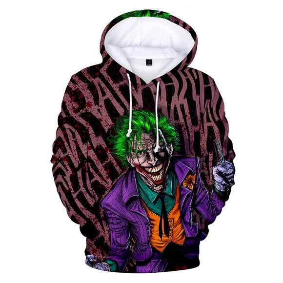 Hot Popular Haha Joker 3D Print Pull Over Hoodies