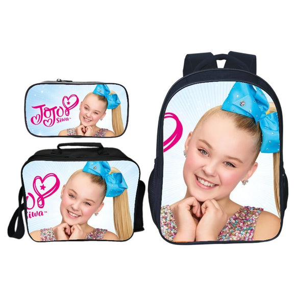 Jojo Siwa Print Kids Backpack School Bag With Lunch Box and Pencil Box Set