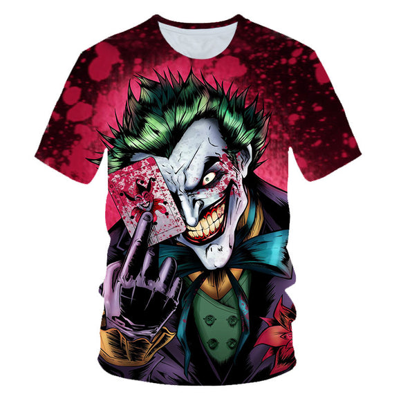 Hot Popular Joker Horror Bloody Print Shirt For Halloween Costume Party