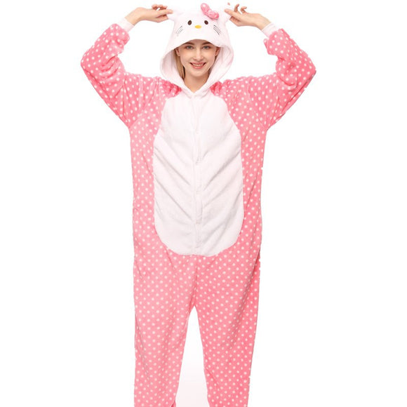 Adult Animal Onesis Cat Pajamas Pink Dot Hello Kitty Kigurumi Halloween Cosplay Costume For Men&Women