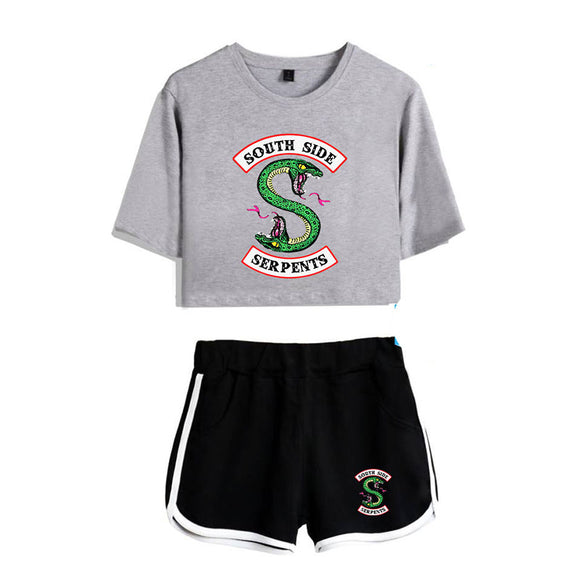 Riverdale Clothing Crop Top T-Shirt and Shorts Suit for Girls/Wowen D