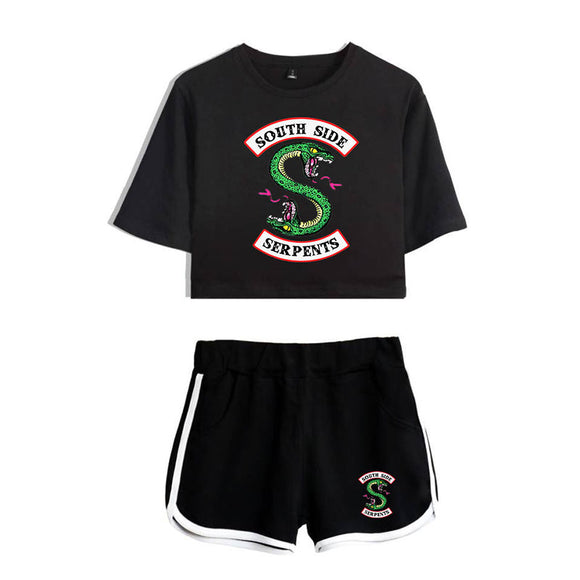 Riverdale Clothing Crop Top T-Shirt and Shorts Suit for Girls/Wowen