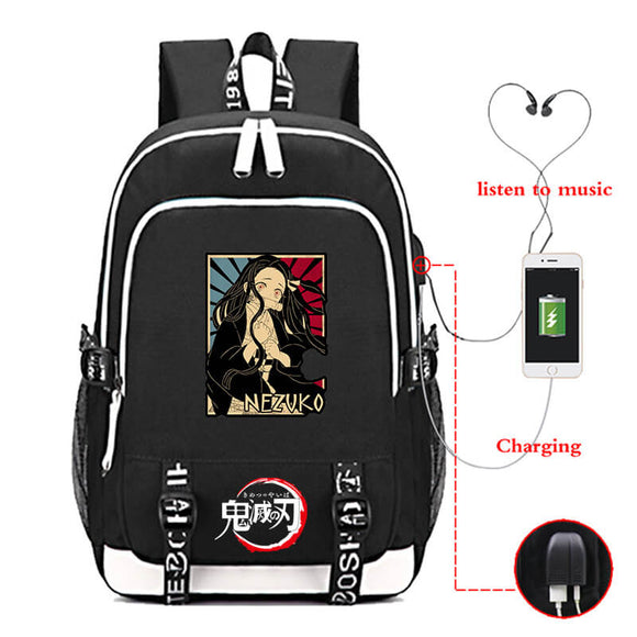 Kimetsu No Yaiba Backpack with USB Charging Port