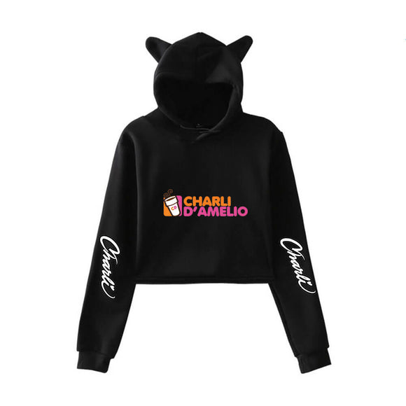 Charli D'Amelio Cat Ear Crop Top Hoodie for Fashion Girl