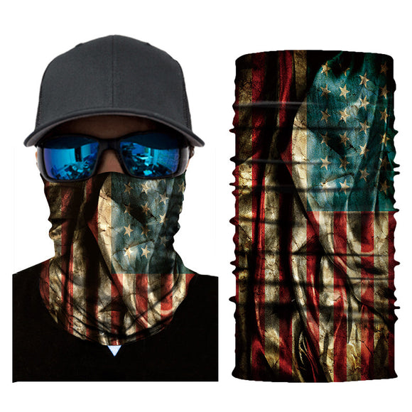 10Pcs American Flag Print Windproof Seamless Face Bandana Head Scarf