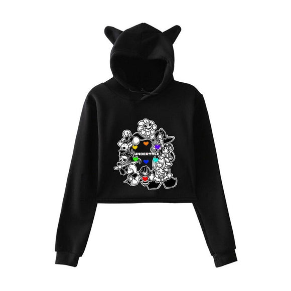 Undertale Girls Crop Top Hoodie With Cat Ear
