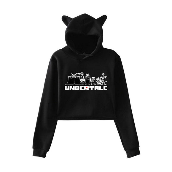 Undertale Girls Crop Top PolyesterHoodie With Cat Ear