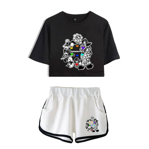 Undertale Girls Crop Top Shirt And Shorts Polyester Suit