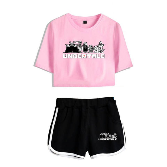 Undertale Girls Crop Top Shirt And Shorts Suit For Adults