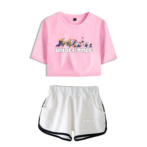 Undertale Girls Crop Top Shirt And Shorts Suit