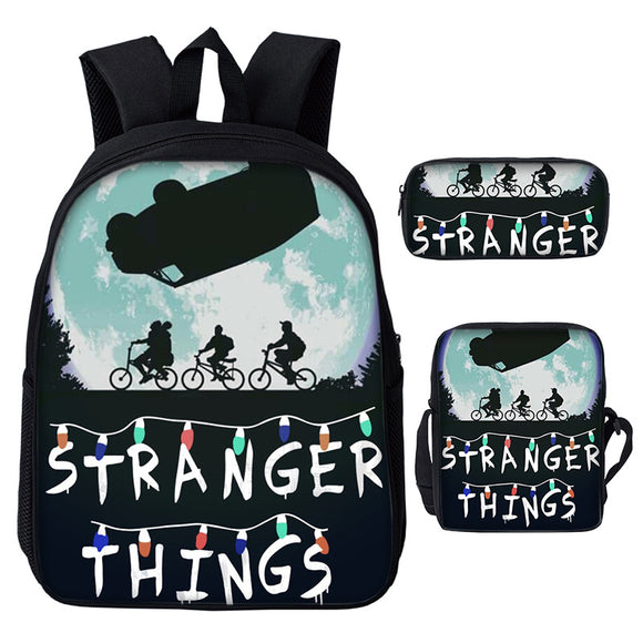 Stranger Things Youth Teens Kids Backpack With Lunch Bags and Pencil Bag Set