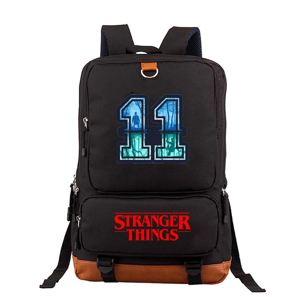 Stranger Things Canvas amd PU Fashion School Backpack Book Bags