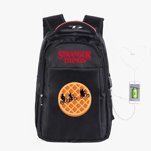 Stranger Things Fashion School Backpack Campus Backpack With USB Charge Port