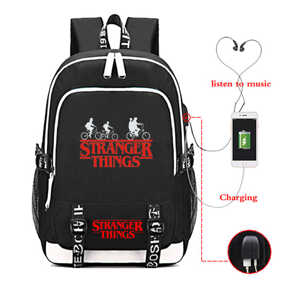 Stranger Things Youth School Backpack Travel Bag With USB Charge Port