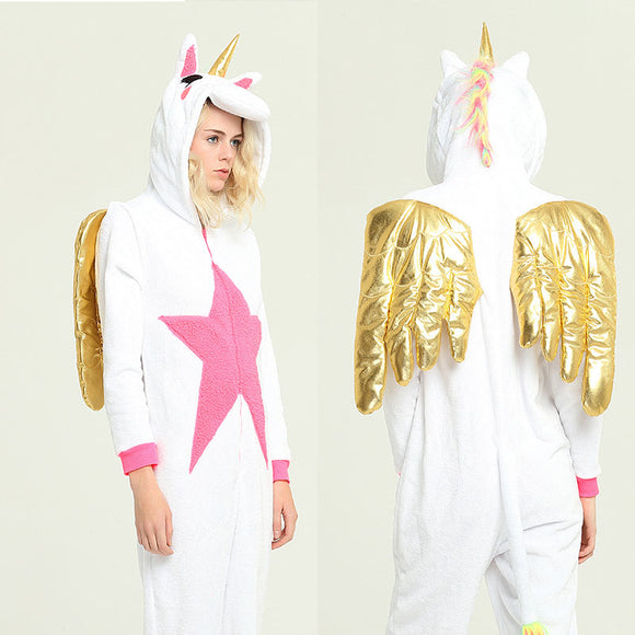 Adult Animal Onesis Pajamas Unicorn With Wing Kigurumi Halloween Cosplay Costume For Men&Women