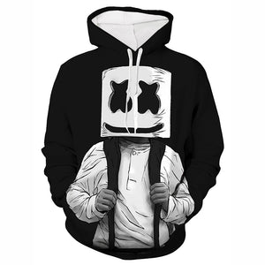 DJ Marshmello Fashion Hoodies 3D Print Pull Over Sweatshirts