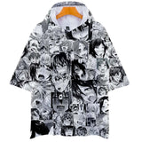 Funny Anime Ahegao Face Hoodies Short Sleeves