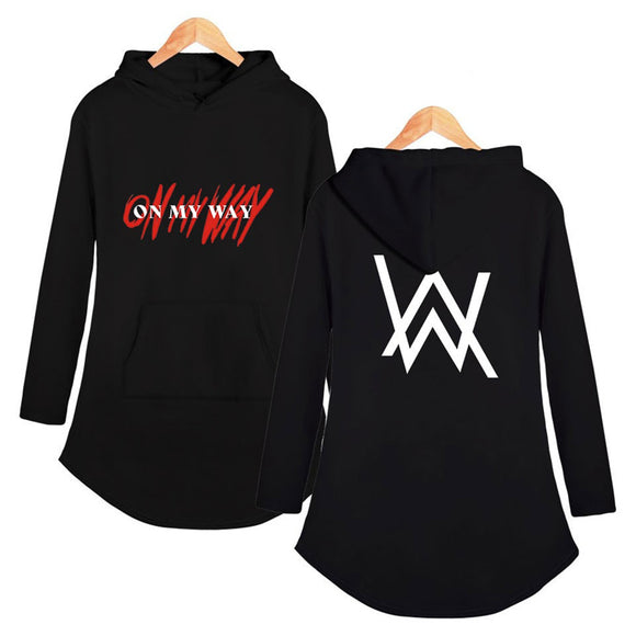 Alan Walker On My Way Long Sleeve Hoodied Dress