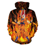 Anime Dragon Ball Z  Super Saiyan Goku Flame 3D Print Pull Over Hoodie