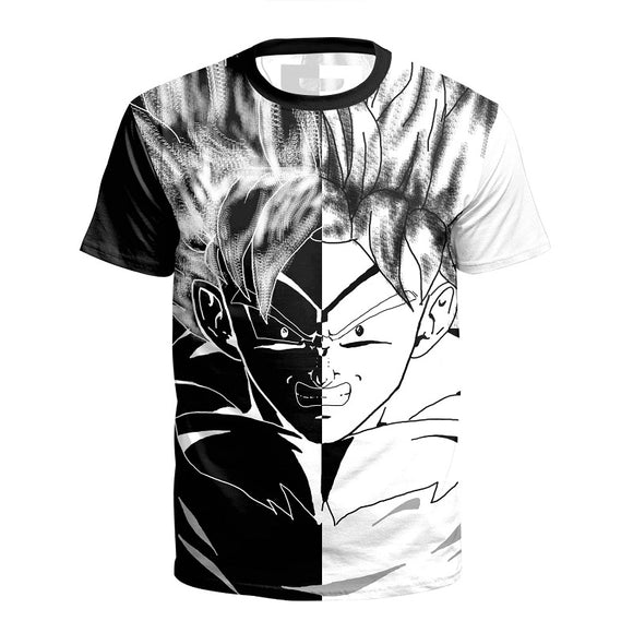 Anime Dragon Ball Z  Super Saiyan Goku Black and White Short Sleeves Shirt