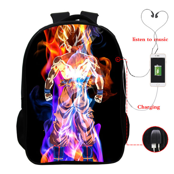 Dragon Ball Z Backpack Full Print School Backpack Double Main Compartment Backpack For Boys Girls With USB Charging Port