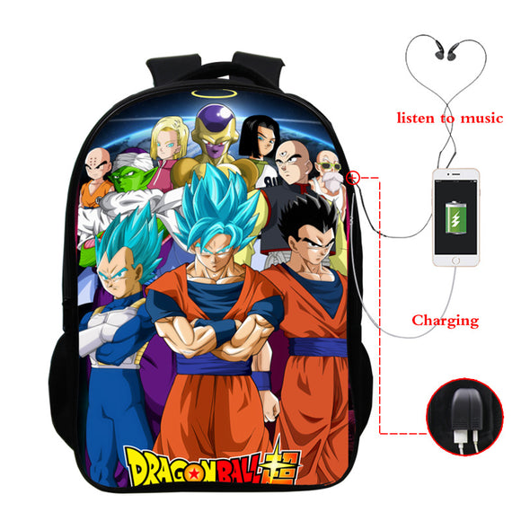 Dragon Ball Z Backpack Full Print School Backpack For Boys Girls With USB Charging Port