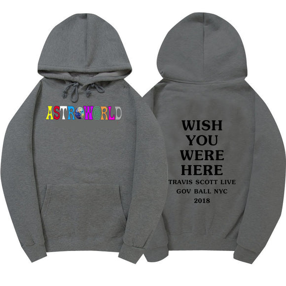 Travis Scott Astroworld  Wish You Were Here Pullover Sweatshirt Letter Print Unisex Cotton