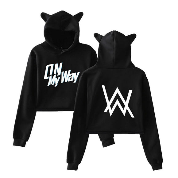 Alan Walker Baseball Cat Ear  Crop Top On My Way Hoodie Cotton