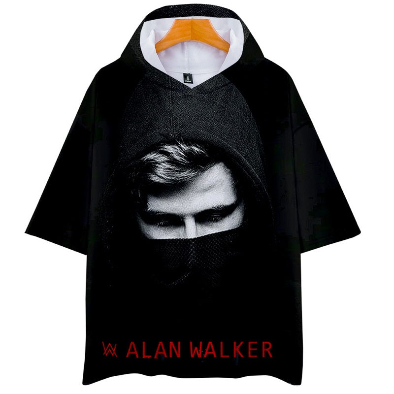 Alan Walker New Loose Fit Breathable Short Sleeve Hooded T Shirt