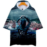 Alan Walker New Loose Fit Breathable Short Sleeve Hooded T-shirt