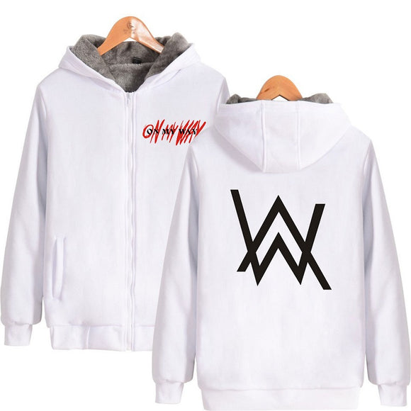 Alan Walker On My Way Zipper Hoodie Jacket Thicken velvet