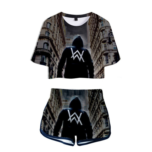 Alan Walker On My Way Crop Top T-shirt&Shorts Suit