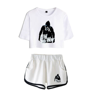 Alan Walker On My Way Crop Top T-shirt&Shorts Suit For women