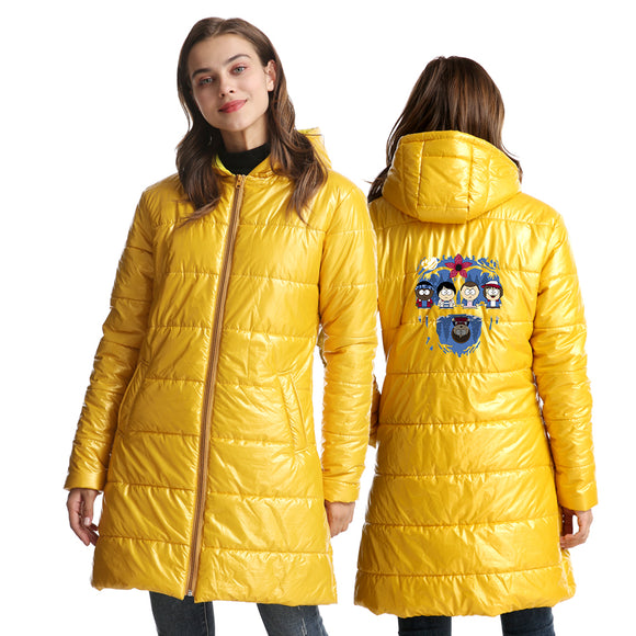 Stranger Things Womens Long Warm Coat Winter Ultra Light Down Jacket With Zipper