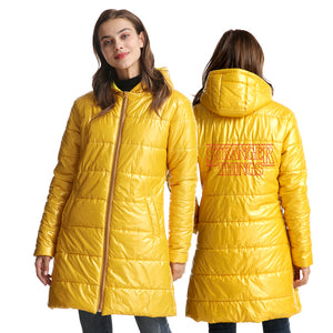 Stranger Things 3D Red Print Long Sleeve White Duck Down Jacket