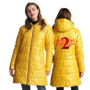 Stranger Things Womens Red Print Long Warm Coat Winter Ultra Light Down Jacket