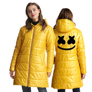 Hot Fashion DJ Marshmello 3D Black Print Womens Long Warm Down Jacket