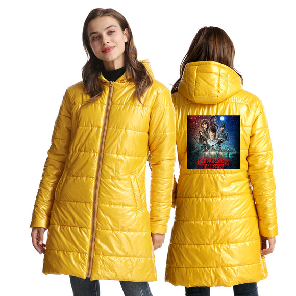 Stranger Things 3D Blue Print Long Sleeve White Duck Down Jacket