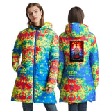 Stranger Things Womens Black Print Long Warm Coat Winter Ultra Light Down Jacket