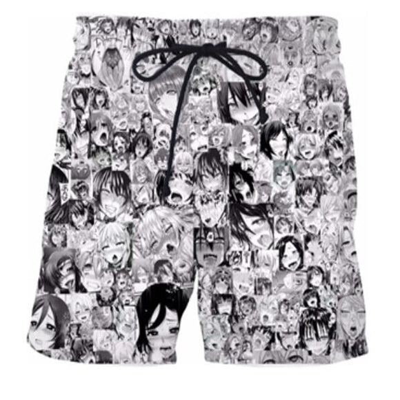 Funny Anime Ahegao Face Hentai Casual Shorts Pants Unisex