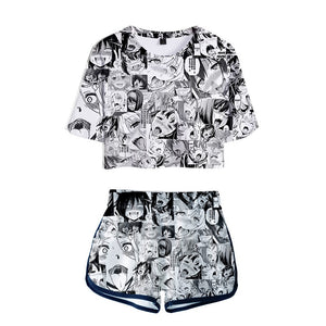 Ahegao Outfits Short Sleeve Crop Top and Short Pants Sets