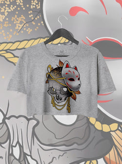 CROP TOP KITSUNE SKULL