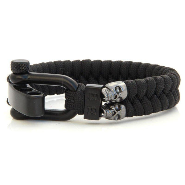 Steel & Cord | Black Skulls - Bad-Ass Bracelets