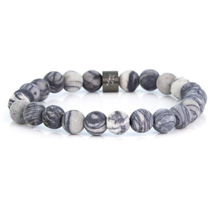 Steel & Stones | Grey Striped Jasper - Bad-Ass Bracelets