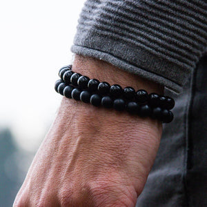 Steel & Stones | Triple Black Onyx - Bad-Ass Bracelets